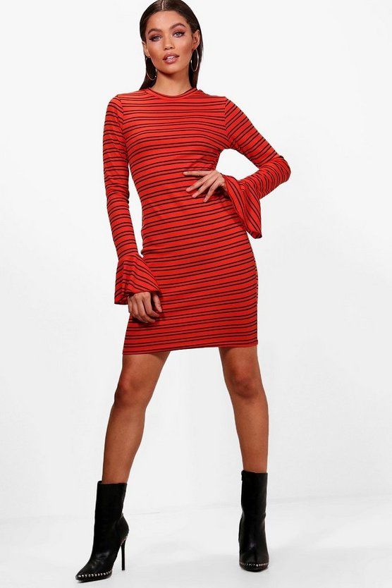 Stripe Ribbed Flute Sleeve Bodycon Dress