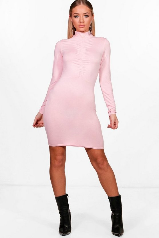 High Neck Rouched Bodycon Dress