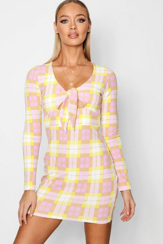 Womens Lime Knot Front Checked Bodycon Dress