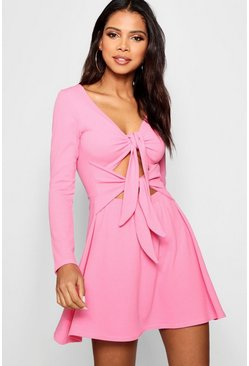 Womens Millennial pink Double Knot Skater Dress