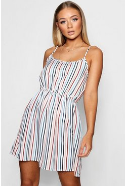 Womens White Gillian Stripe Print Strappy Sundress