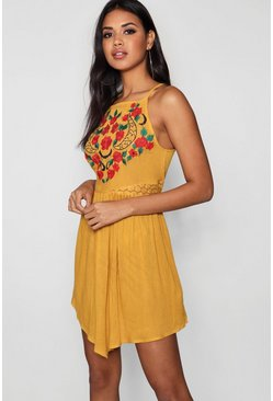 Mustard Square Neck Embroidered Skater Dress