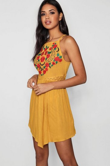 Womens Mustard Square Neck Embroidered Skater Dress
