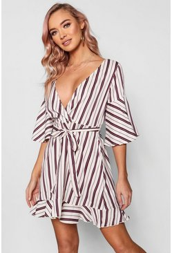 Striped Flute Sleeve Wrap Dress, Stone, ЖЕНСКОЕ