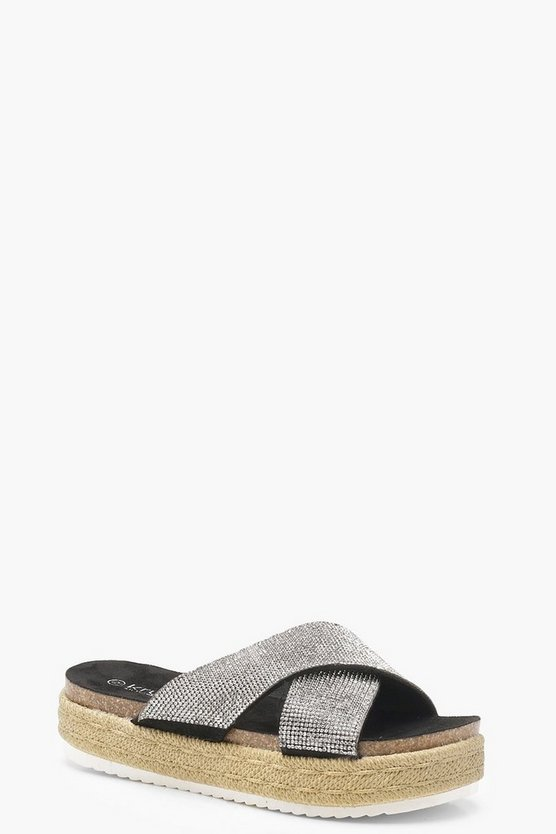 Womens Silver Diamante Cross Strap Flatform Sliders
