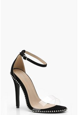 Womens Black Clear and Stud Heels