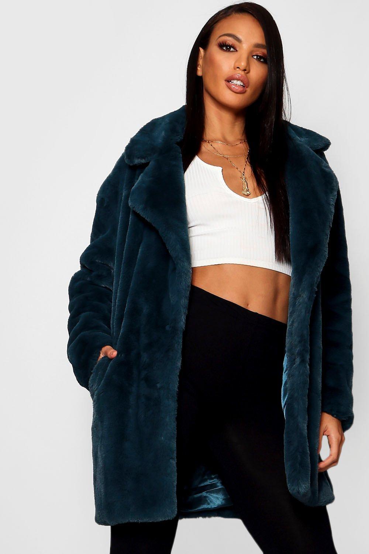 azulado extra piel de Abrigo sintética con de Jasmine verde cuello grande Boutique XqqZPw