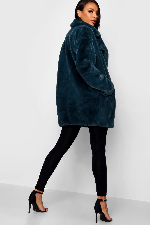grande de con cuello de verde sintética piel Jasmine Abrigo Boutique extra azulado nxqtYI0tw