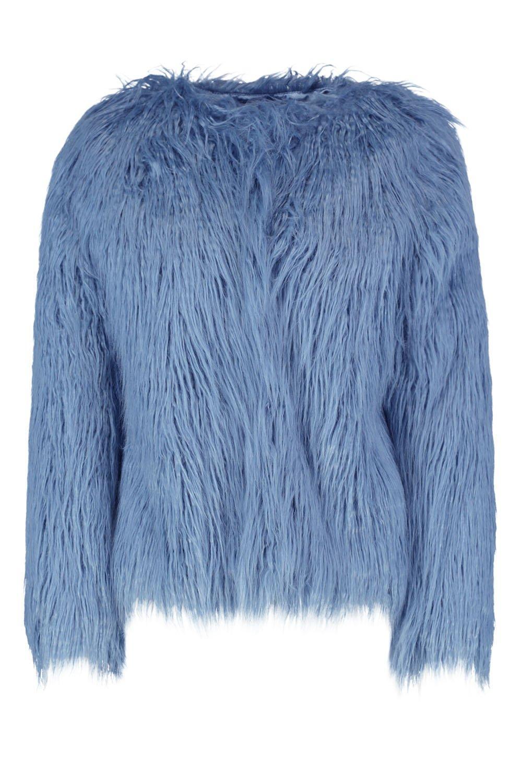 de piel Mongolia Anna sintética Abrigo azul de Rqw0axZ