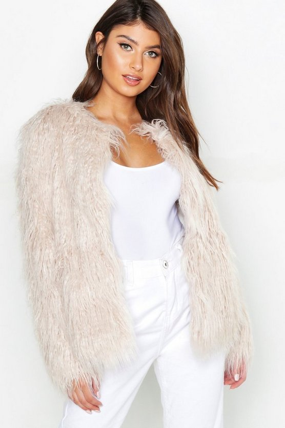 Natural Mongolian Faux Fur Coat