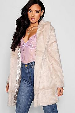Vintage Coats & Jackets | Retro Coats and Jackets Elsie Boutique Rever Collar Faux Fur Coat $120.00 AT vintagedancer.com