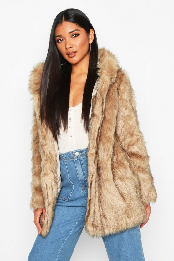 Womens Natural Boutique Hooded Faux Fur Coat