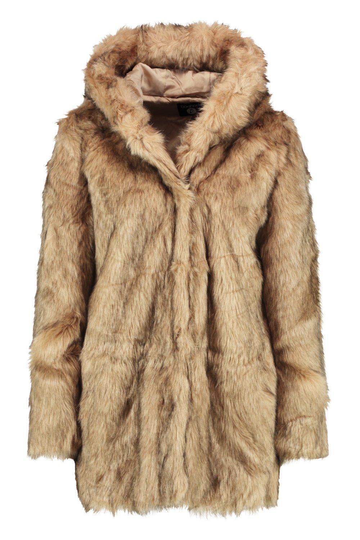 natural piel capucha de Abrigo boutique Lois con sintética de tqx18