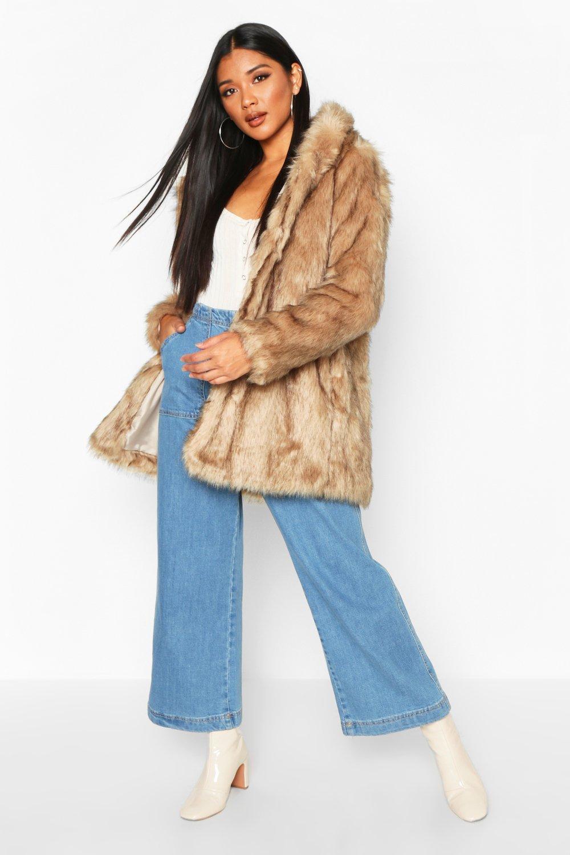 capucha de boutique piel con natural de Lois sintética Abrigo qaWF1PHUw5