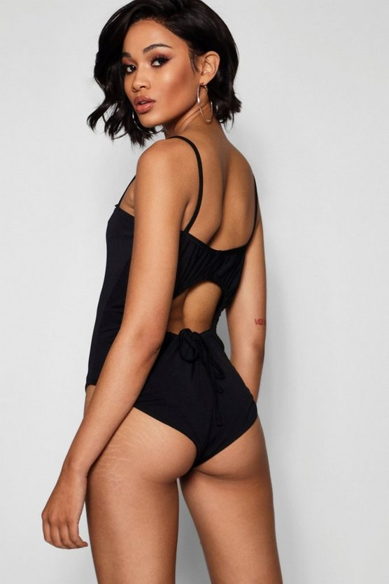 Ruched Open Back Bodysuit