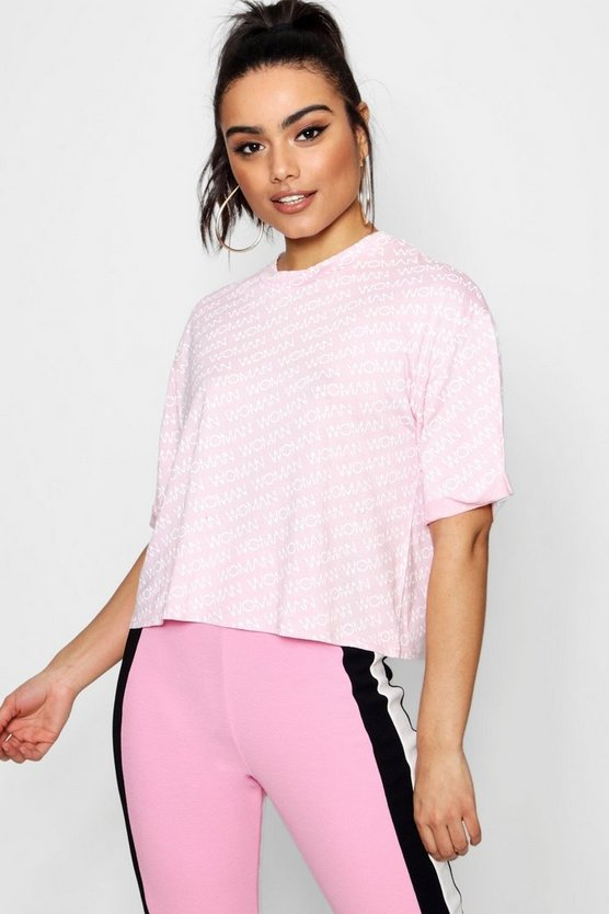 Woman Diagonal Crop T-Shirt