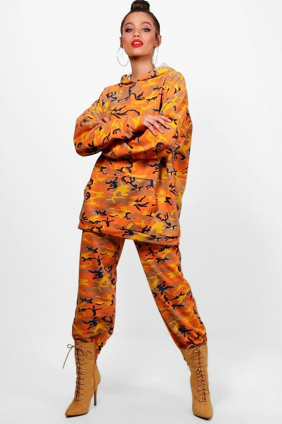 Womens Orange Addison Athleisure Camo Oversized Tracksuit