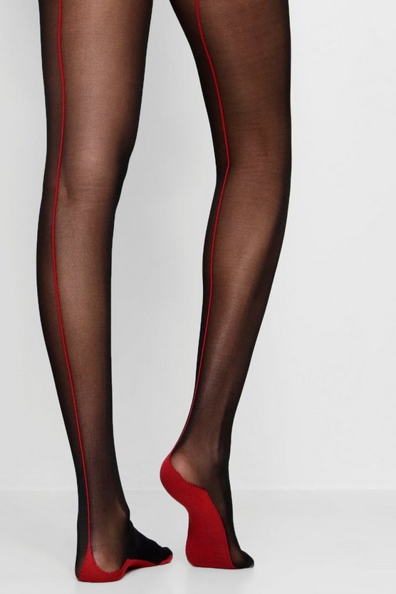 Millie Contrast Red Back Seam Detail Tights
