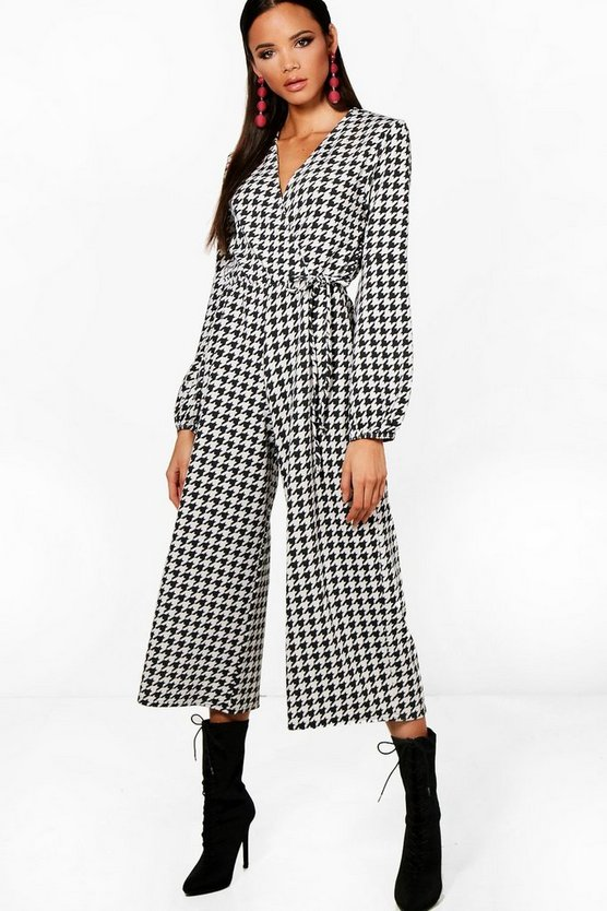 Womens Black Wrap Balloon Sleeve Dogtooth Culotte Jumpsuit