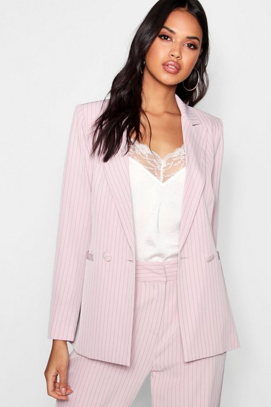 Stripe Double Breasted Tailored Suit Blazer
