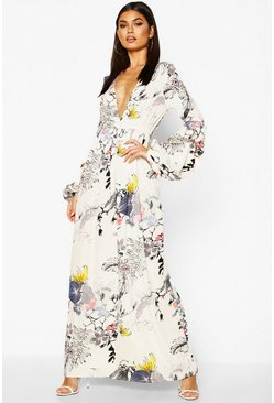 Womens White Mimi V Neck Rouched Sleeve Floral Maxi Dress