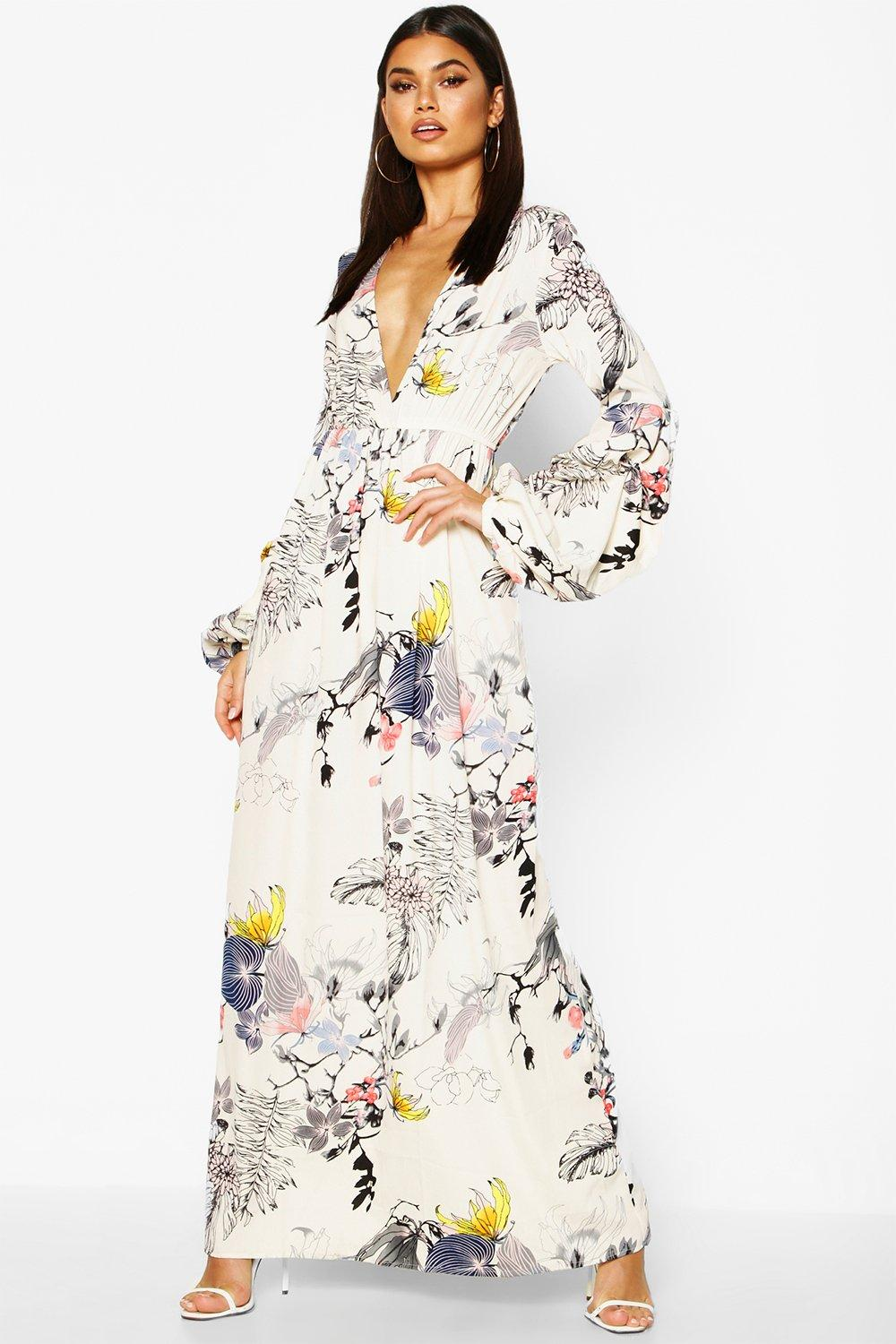 b4e0f4fbe2 Mimi V Neck Rouched Sleeve Floral Maxi Dress