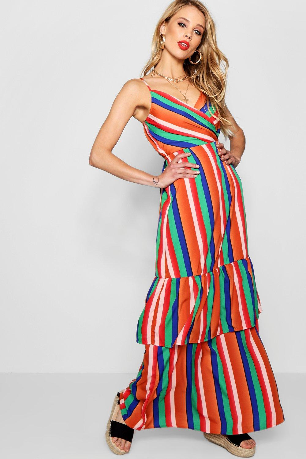 Image result for multi color stripe gown