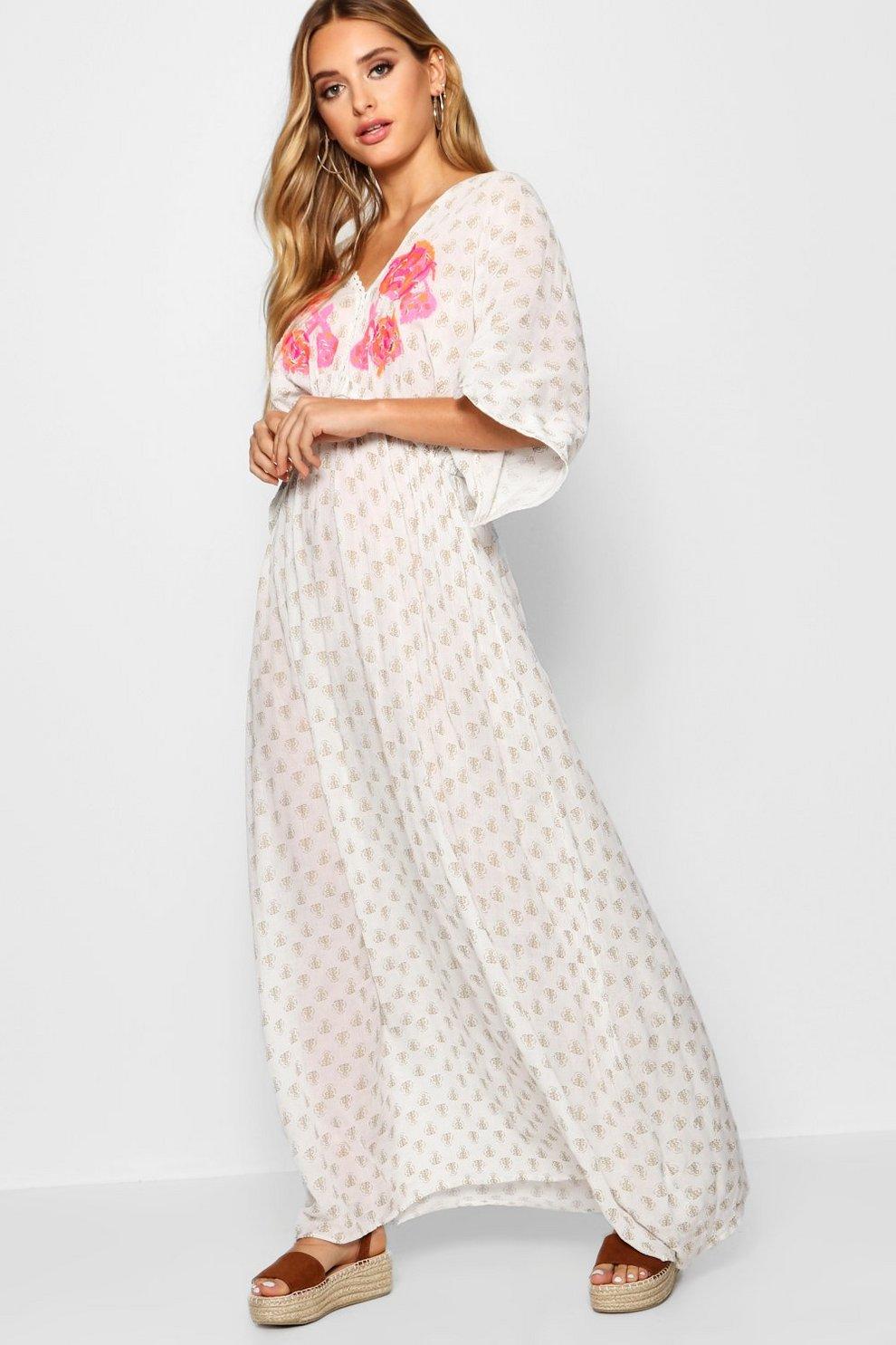 c093d1a1cf Womens White Embroidered Gold Beach Kaftan Maxi Dress