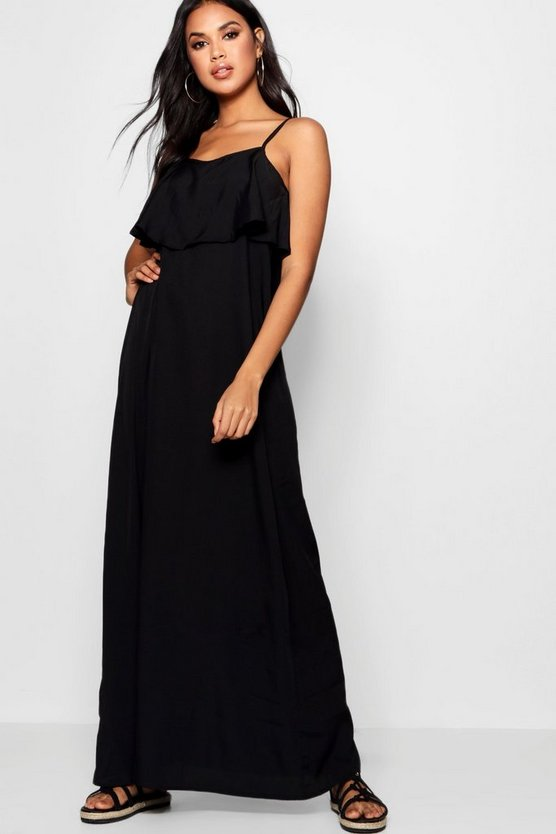 Womens Black Stephie Cold Shoulder Ruffle Maxi Dress