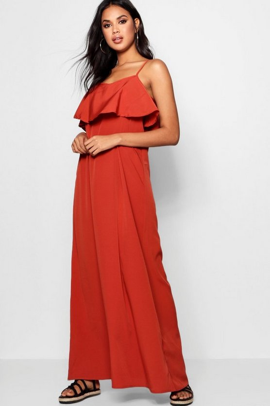 Stephie Cold Shoulder Ruffle Maxi Dress