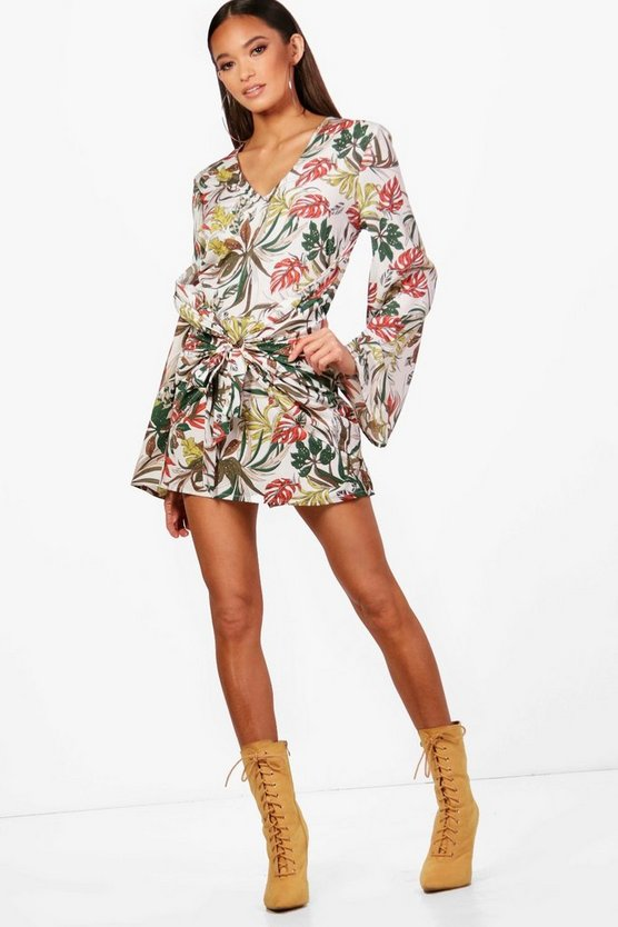 Palm Print Wrap Front Kimono Sleeve Dress