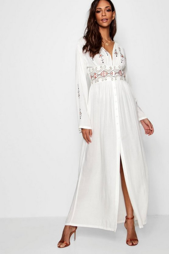 Womens Ivory Embroidered Button Through Maxi Dress