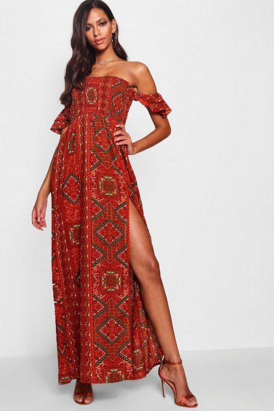 Yoselin Off The Shoulder Shirred Maxi Dress