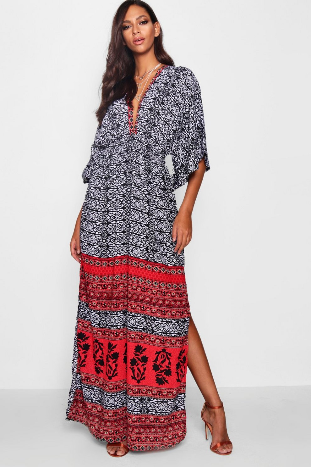 cdfd7fb403cb4c Danielle Kimono Sleeve Maxi Dress | Boohoo