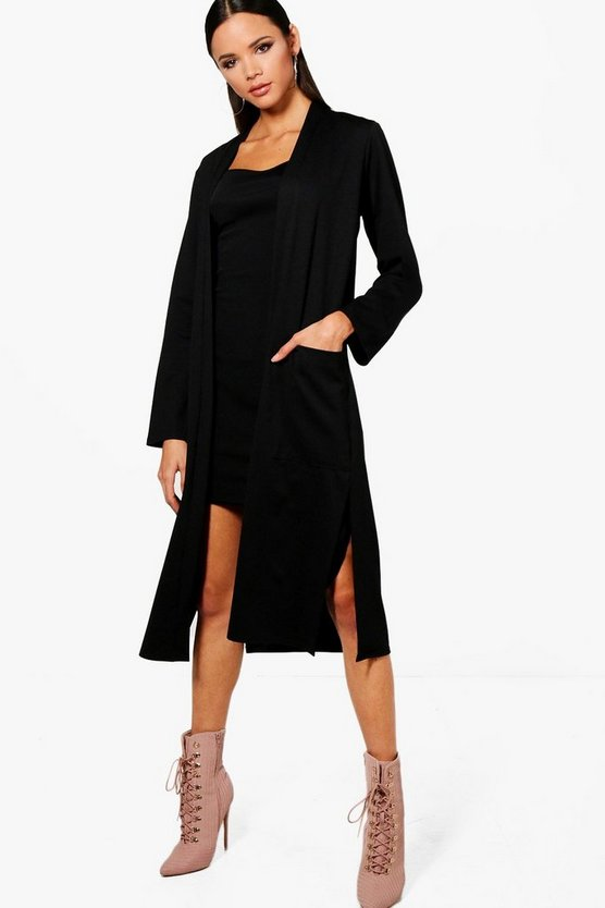 Womens Black Pocket Duster