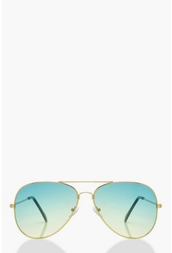 Womens Gold Gradient Lens Aviators