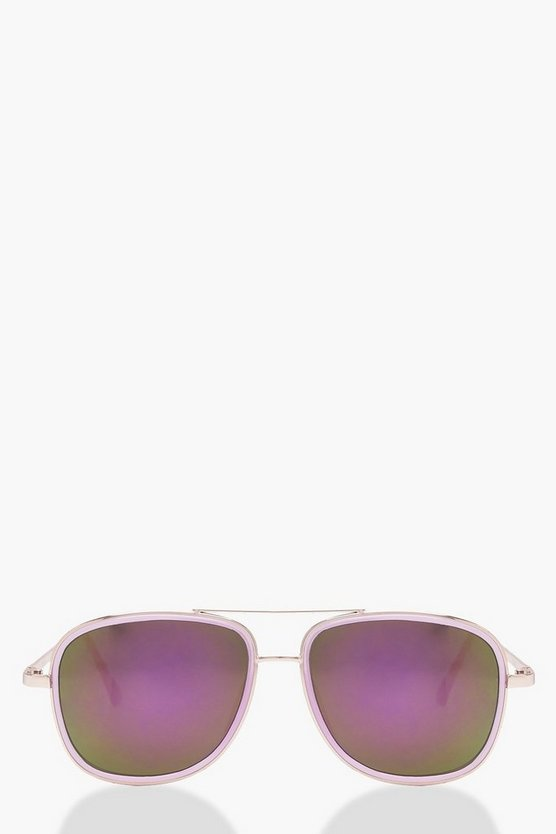 Womens Mia Purple Reflective Lense Double Bar Aviators