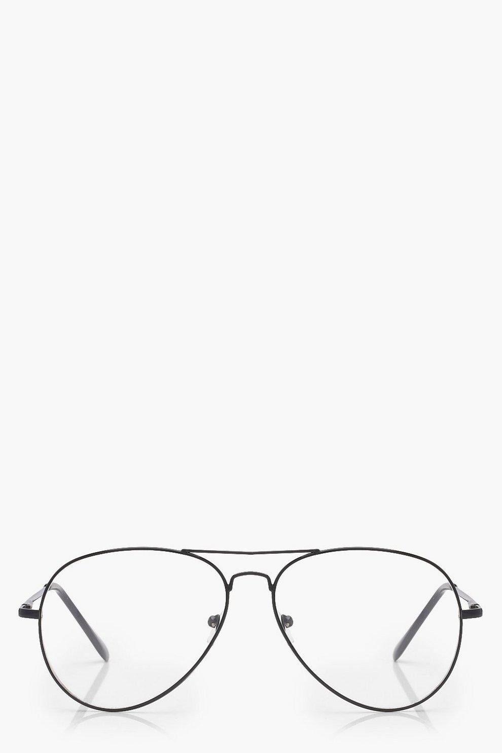 f379a2d73a Gafas de aviador Erin con lentes transparentes y montura negra | Boohoo