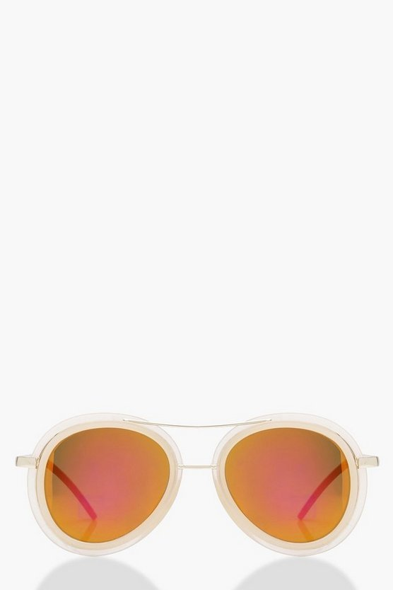 Nude Reflective Lens Double Bar Aviators