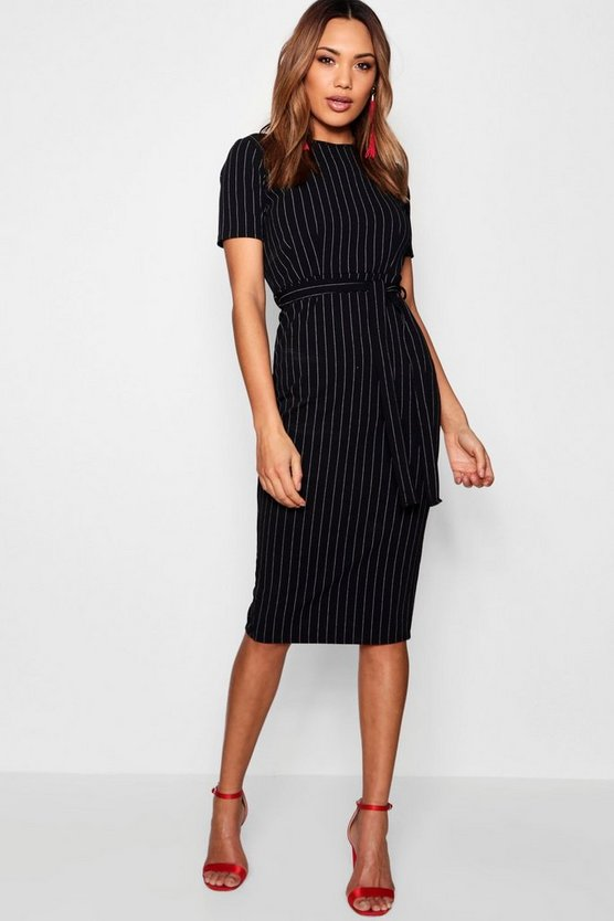 Womens Black Pinstripe Belted Tailored Dress