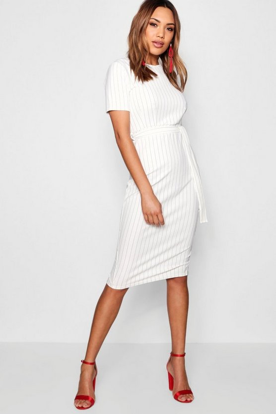 Pinstripe Belted Tailored Dress