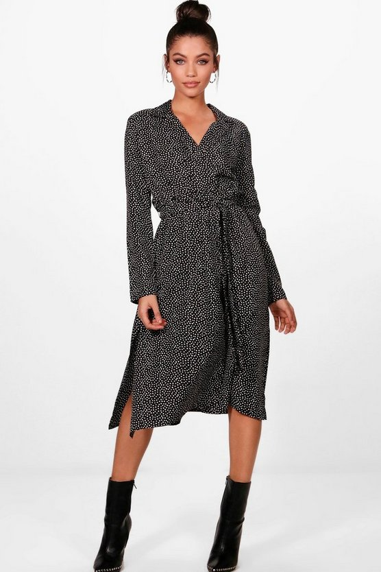Sintha Polka Dot Print Wrap Midi Shirt Dress