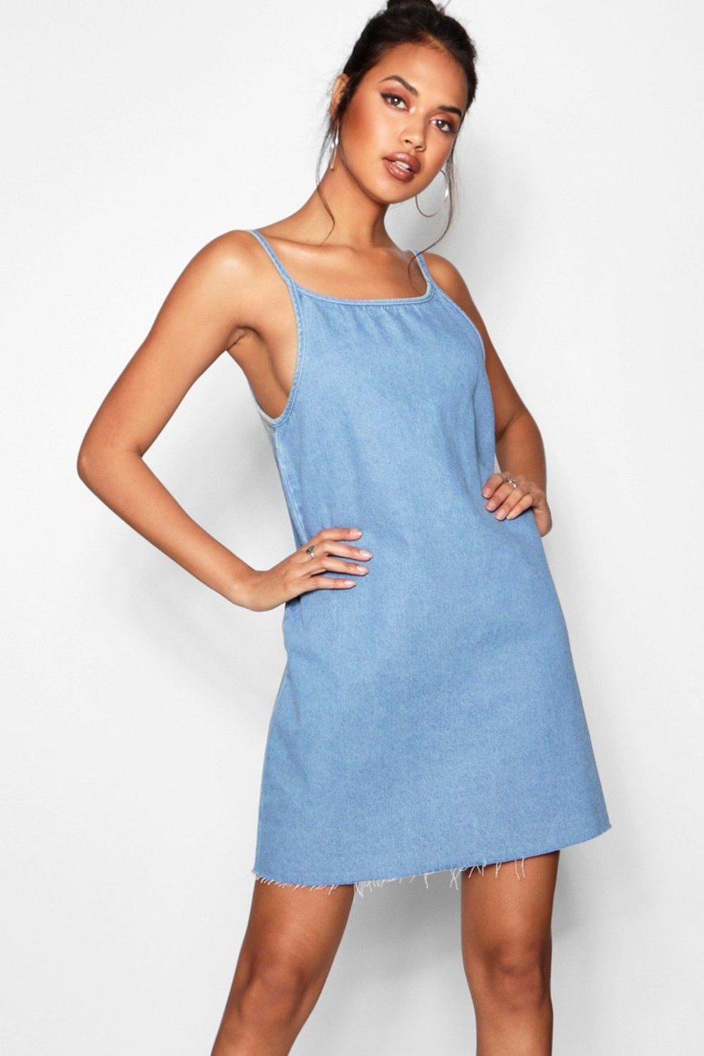 5170c4a202c63 Loose Low Back Strappy Denim Dress | Boohoo