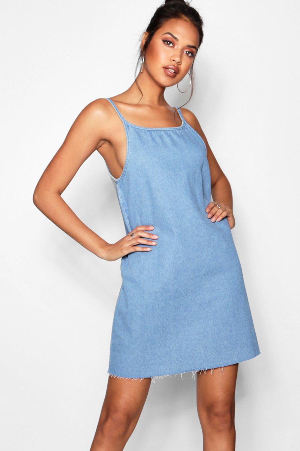 f55495c68f Loose Low Back Strappy Denim Dress. Hover to zoom