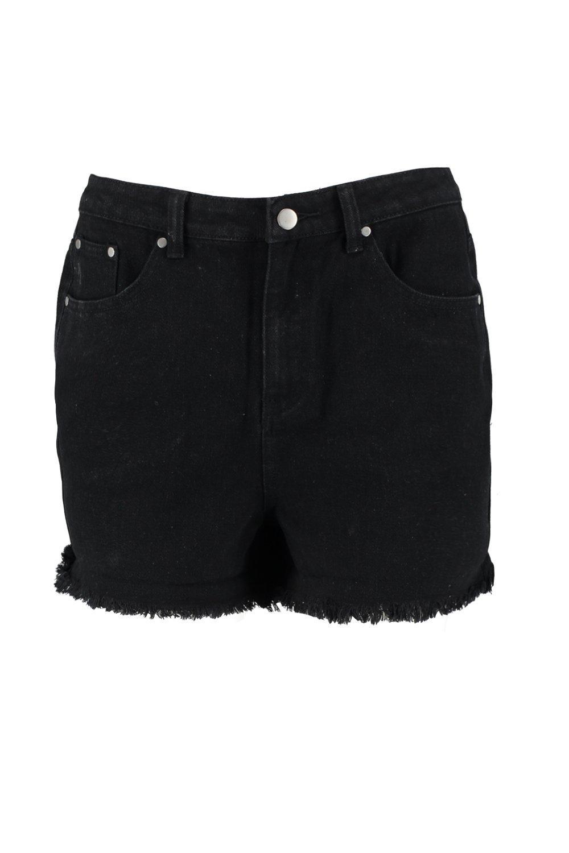 negro denim mamá con cortos desgastados de alta Pantalones ne cintura AqvwPBz