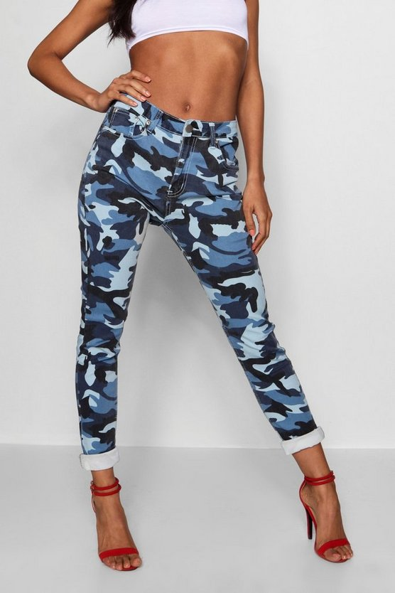 Mid Rise Camo Skinny Jeans
