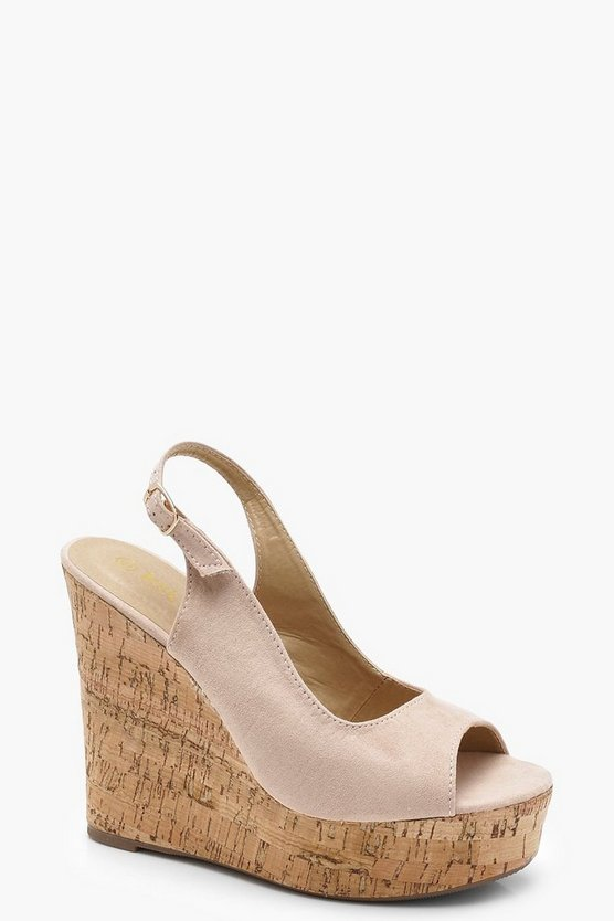 Cork Sling Back Peeptoe Wedges