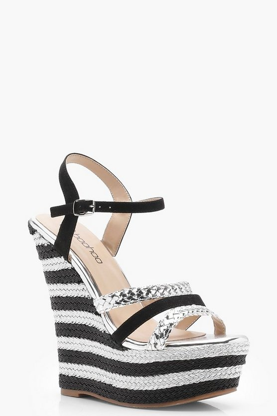 Striped Plait Strap Wedges