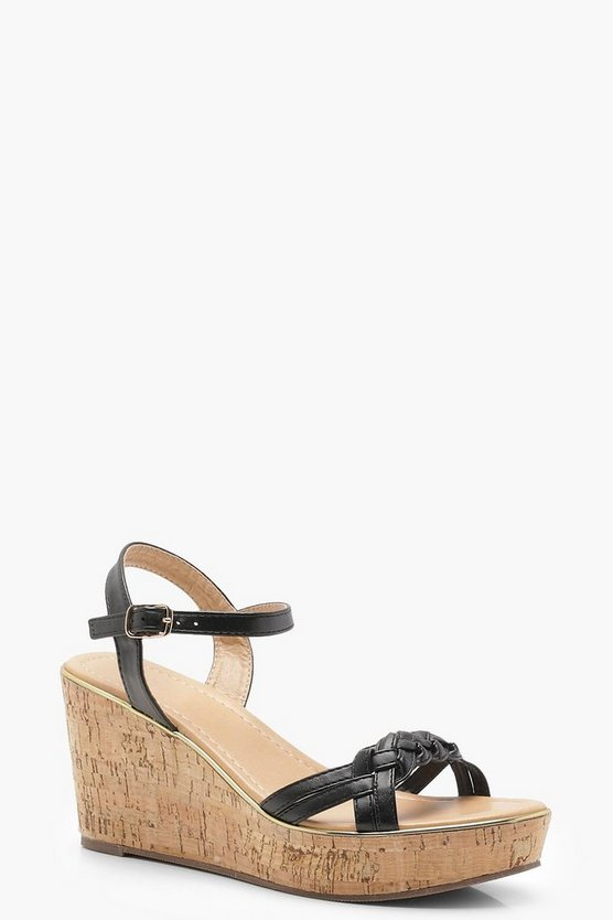 Plaited Strap Cork Flatform Wedges