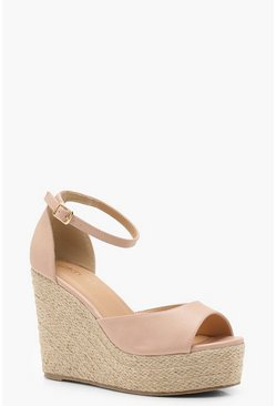 Womens Nude Espadrille 2 Part Wedges
